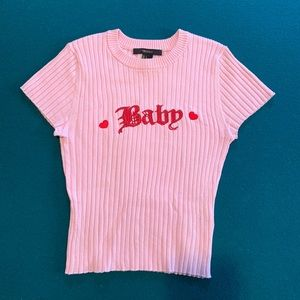 "Forever21 ""BABY"" Pink crop top"
